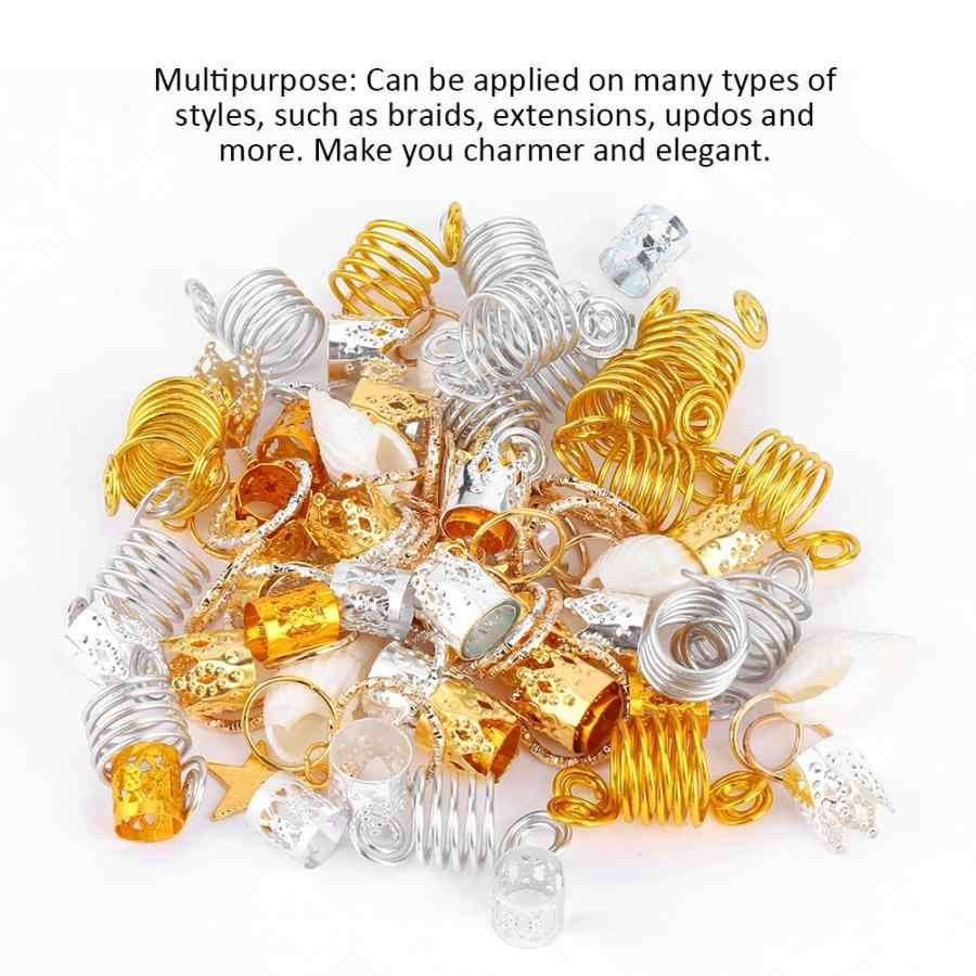90pcs Haar Vlecht Ringen Spiraal Sart Crown Hair Clips Loops Shell Decoratie Haar Manchetten Dread Tube Charm Dreadlock Accessaries