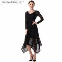 DuaoLouDuaoDou Trang Phục thiết kế Ban Đầu dài tay dresses Mùa Xuân Mùa Thu chất lượng cao new women ren không thường xuyên cao cấp thời trang