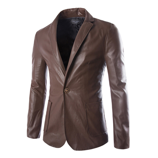 2016 Spring New Arrival Men Leather Blazer Jacket Solid Fashion Casual Slim Fit Mens Single Button Suit Jackets Coat 13M0376
