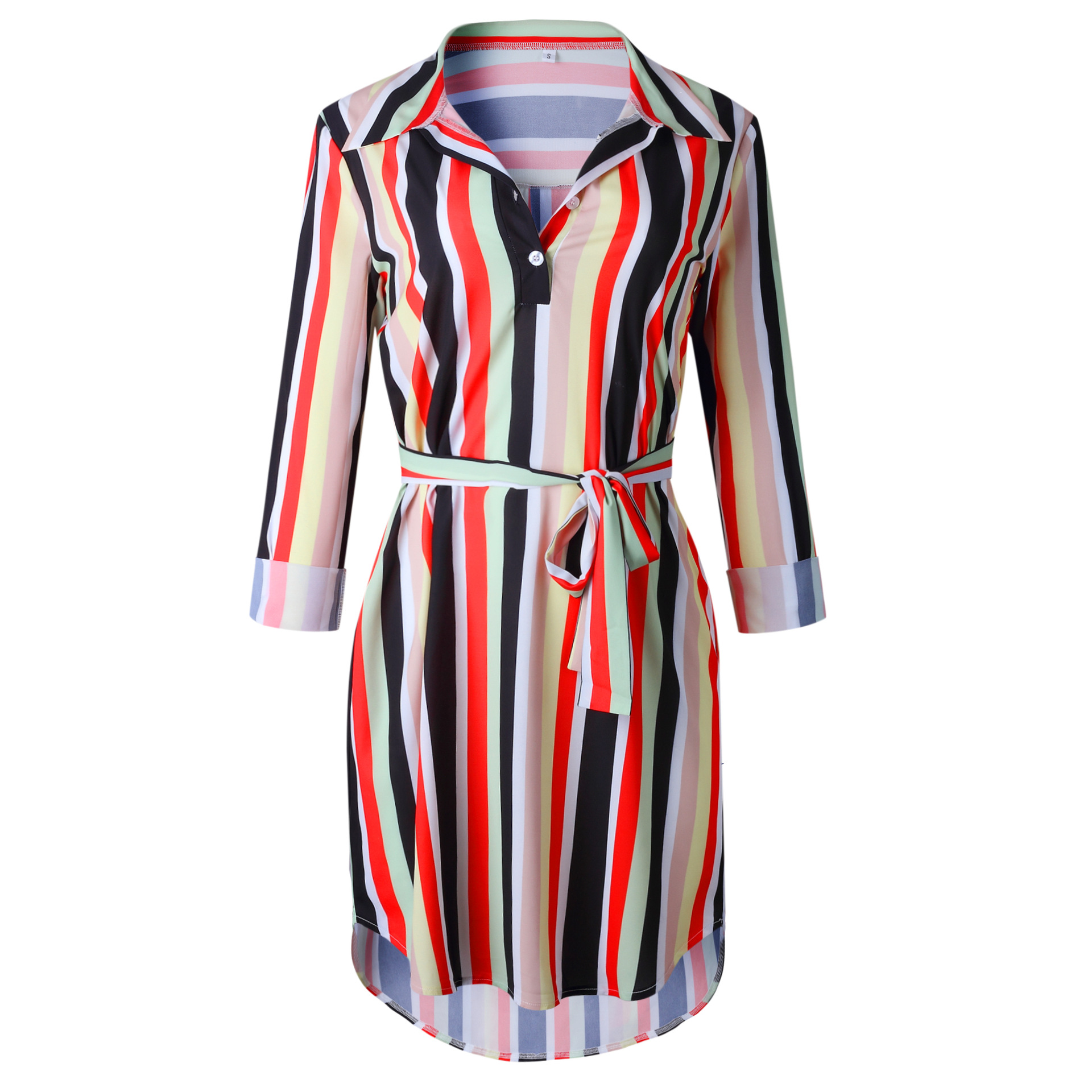 Women Autumn Striped Shirt Dress Ladies Casual Long Sleeve Loose Beach Dresses 2019 Autumn Female Fashion Print Dress Vestidos in Dresses from Women 39 s Clothing