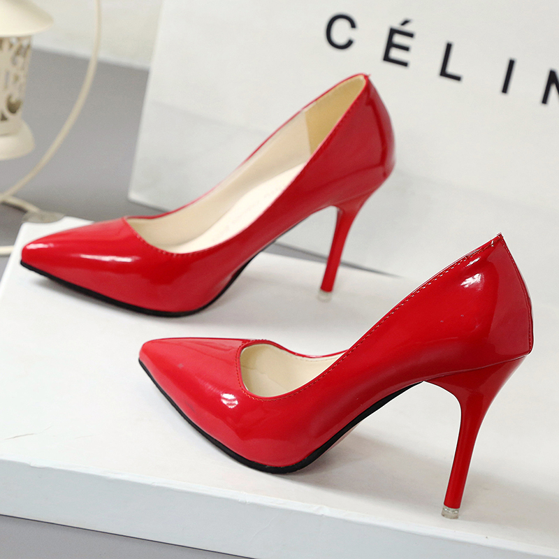 spring summer Sexy High Heels Shoes Woman 10cm Pumps Red white black patent leather Ladies Wedding Party Shoes thin heels 2018 women silver high heels wedding shoes elegant rhinestone thin heel 10cm 8 5cm patent leather sexy pumps elegant sexy shoes