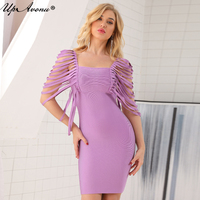 UpAvonu 2018 Sexy elastic bodycon short sleeve tassel mini bodycon party bandage elegant dress woman dropship wholesale UP072