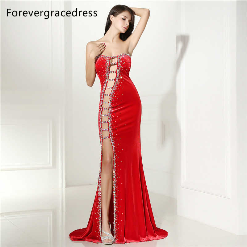 9425934d88d68 Forevergracedress Sexy Prom Dress New Arrival Beaded Crystals Long Backless  Side Slit Formal Party Gown Plus