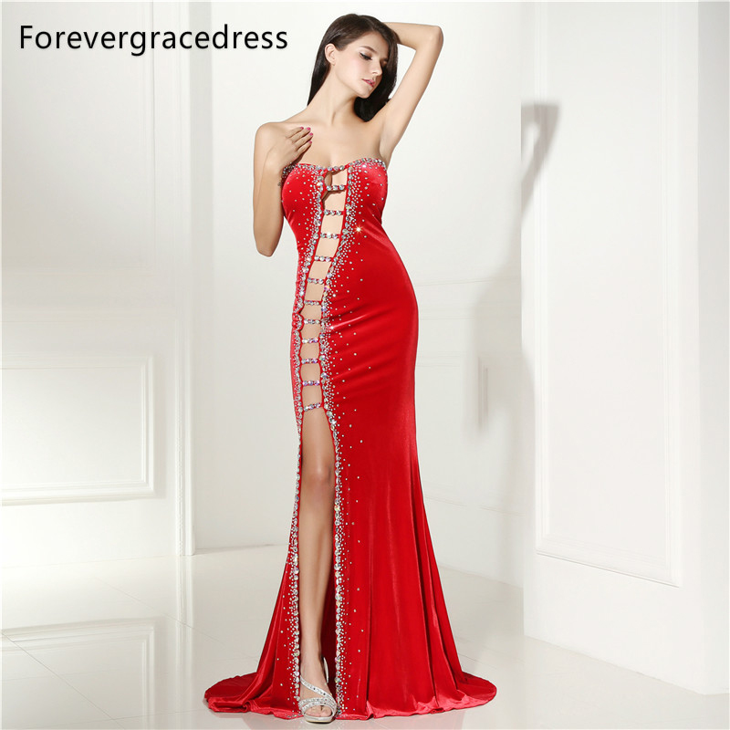 Forevergracedress Sexy Prom Dress New Arrival Beaded Crystals Long Backless  Side Slit Formal Party Gown Plus Size Custom Made d496b5fda6fe
