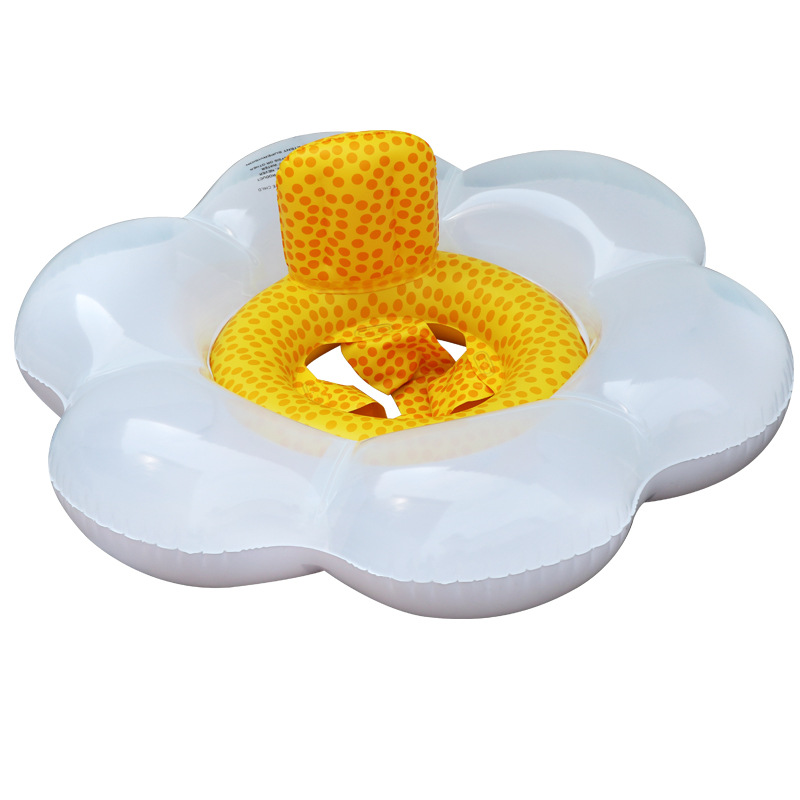 Inflatable white flower seat ring swimming pool inflatable seat beach swim series summer water toys pool float for baby 2018