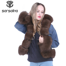 SARSALLYA new fashion real fox fur denim jacket women's Fox Fur coat parka Rex Rabbit Fur lining winter jacket top quality(China)