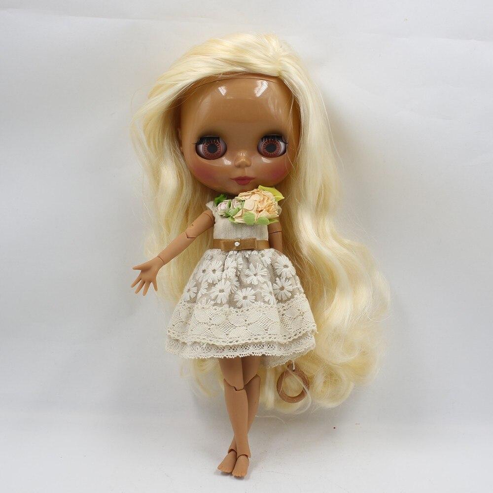 купить free shipping factory blyth doll golden blonde hair side parting dark skin joint body