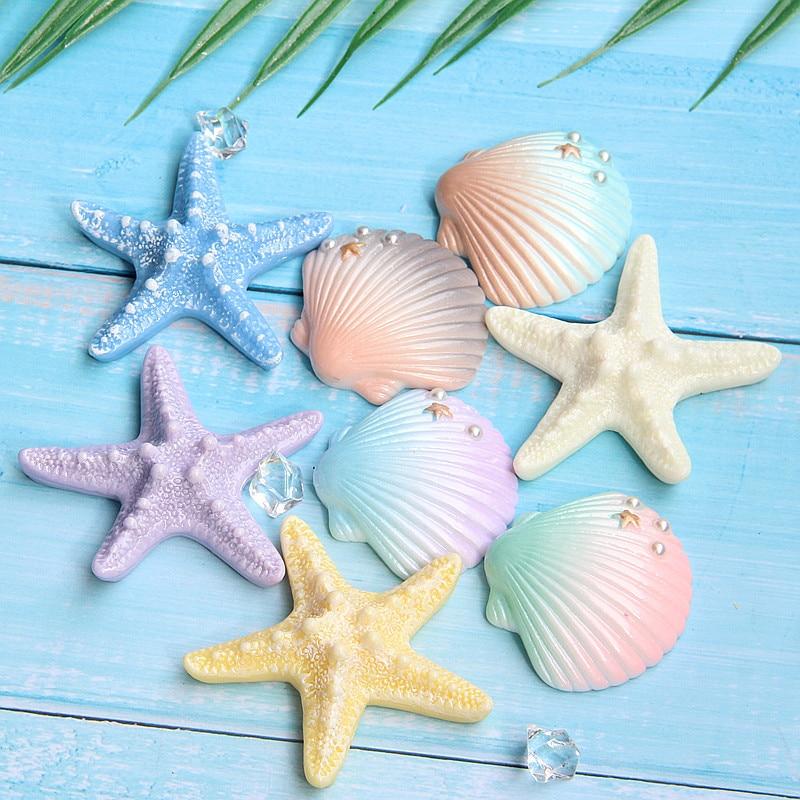 10 pcs Random Resin Starfish Shells Cabochons Gradient Color Mixed Decorations