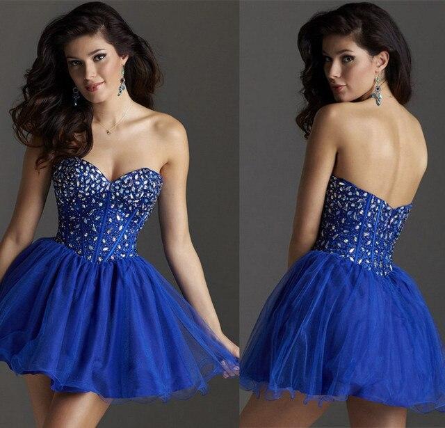 12c6f3e7e 2015 New Beaded Royal Blue Cocktail Party Homecoming Dress Vestido De 15  Anos De Debutante Curtos
