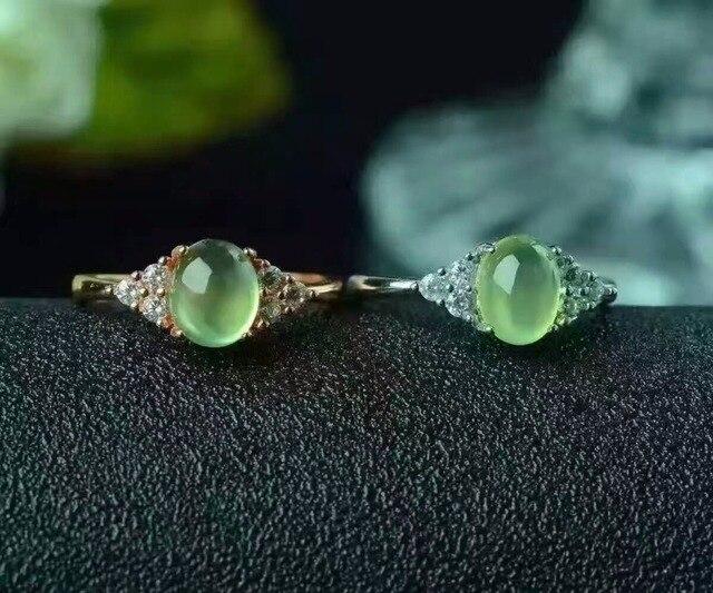 Продвижение серебро 925 gemstone серебряное кольцо 0.6ct природный пренит камень кольцо solid 925 пренит кольцо романтический подарок для женщины