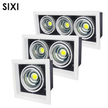 DHL free 8pcs/lot LED COB AR111 lights clothing store double bean gall grille lamp 3W7W 12W 15W square ceiling spotlights(China)