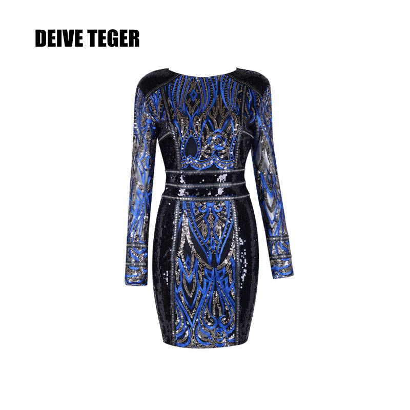 DEIVE TEGER Sequined 2018 spring long sleeve striped Sexy Sheer Mesh Long Evening Party and wedding Women Dress BY227