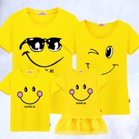 Family Matching Clothes mother father Son clothing Mother Daughter Dresses Outfits Cotton Casual Family Look cotton T shirts