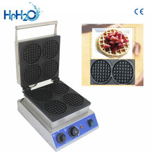 Commercial Non-stick electric 4pcs round shape Hot plate Waffle Making Machine Waffle Maker Waffle Baker Waffle Machine price(China)