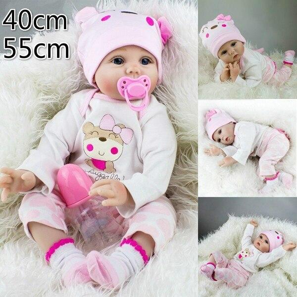 Bebe Reborn 55 cm Silicone souple Reborn bébé poupées réaliste tissu doux corps nouveau-né bébés Silicone jouets enfants anniversaire meilleurs cadeaux