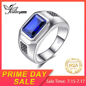 JewelryPalace Men Sapphire Natural 925 Sterling Silver