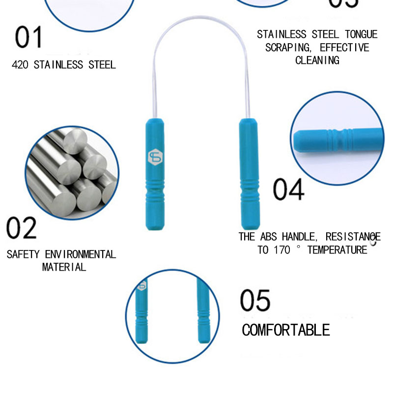 RORASA Healthy Tongue Cleaner Stainless Steel Silica Handle Tongue Scraper Oral Hygiene Dental Cleaning Brush Oral Care 5