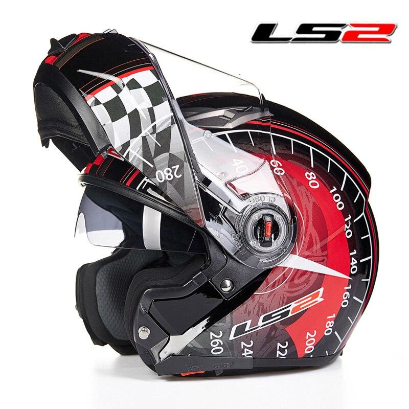 LS2 ff370 homme Flip up moto rcycle casques double bouclier moto rbike Racing Casques croisière automobile accessoires LS2 moto casques ECE