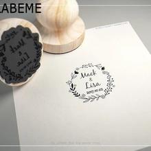 Sello de sello de boda de madera con logotipo personalizado con nombre y fecha para invitación papelería DIY decoración vintage rústica para boda