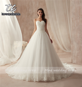 Image 1 - Ball Gown Strapless Tulle Wedding Dress Lace Fitted Bridal Dress with Court Train Wedding Gowns Vestido De Noiva 2021