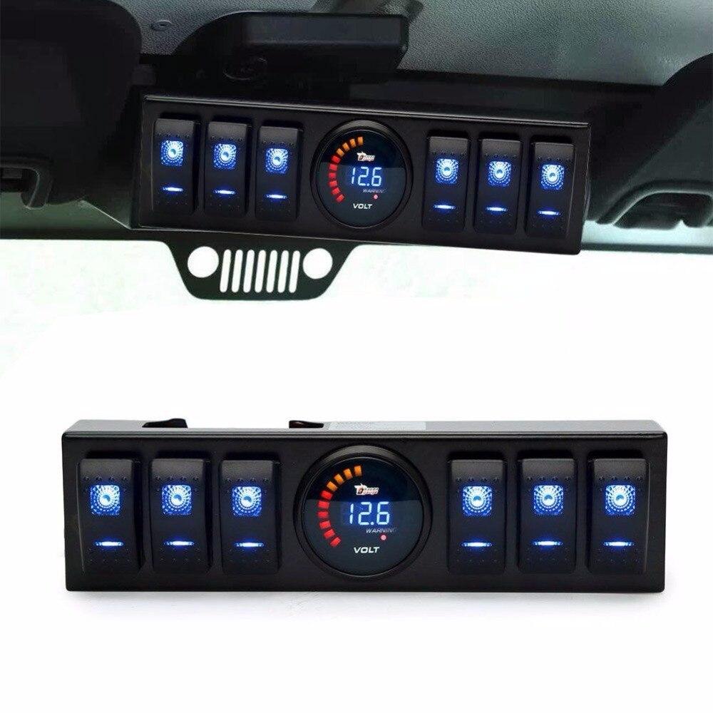 6 Rocker Switch Control Panel Kit Digital Voltmeter Control For Jeep Wrangler JK