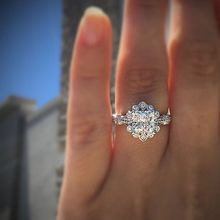 18K White Gold Diamond Princess Rings  for wedding Women