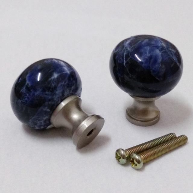 Us 31 95 30mm Blue Sodalite Stone Kitchen Cabinet Knob And Cute Cupboard Door Knobs Handles Hand Shaped Furniture Hardware Factory Price In Cabinet