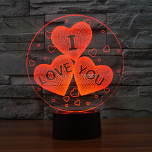 Free Shipping 1 piece 7 Color Changing USB charge 3D HEART I LOVE YOU Acrylic LED night light with 3D luminous table lamp