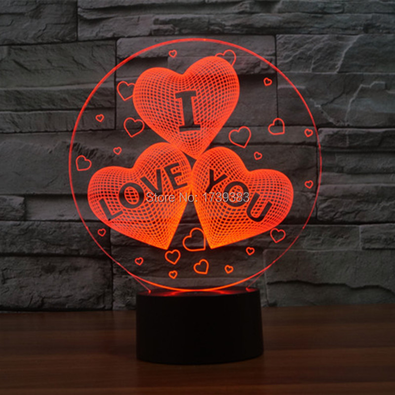 Free Shipping 1 piece 7 Color Changing USB charge 3D HEART I LOVE YOU Acrylic font