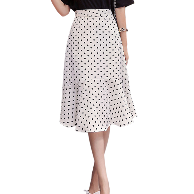 2019 Korean Elegant High Waist Midi Skirt Women Black White Polka Dot Chiffon Skirt Women Ruffles Mermaid Skirt Bohemia