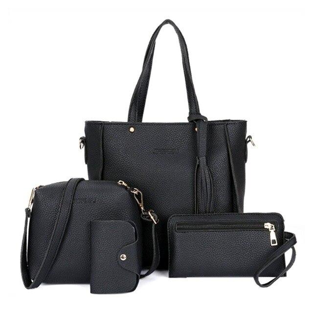 Women 4pcs Set Handbags Top Handle Capacity Female Tassel Handbag Fashion Shoulder Bag