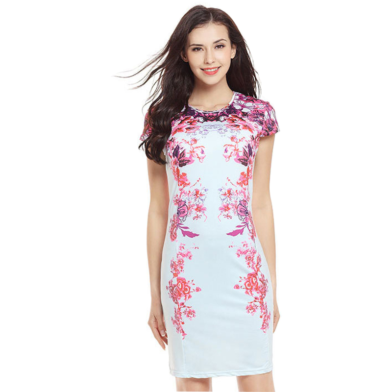 Dresses Dresses For Women 2019 New Aliexpress Slim Short-sleeved Printed Dress Tight Package Hip Pencil Clothing Vestidos Hjy739 With The Most Up-To-Date Equipment And Techniques