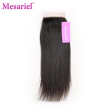 Mesariel Brazilian Non-Remy Hair Natural Black Color Human Hair 4×4 Straight Free Part Lace Closure Free Shipping