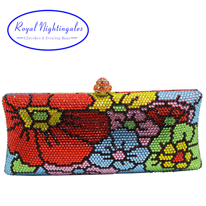 New Luxury Flower Evening Bags and Clutches with Crystal Rhinestone for Womens Party Wedding Prom Dress