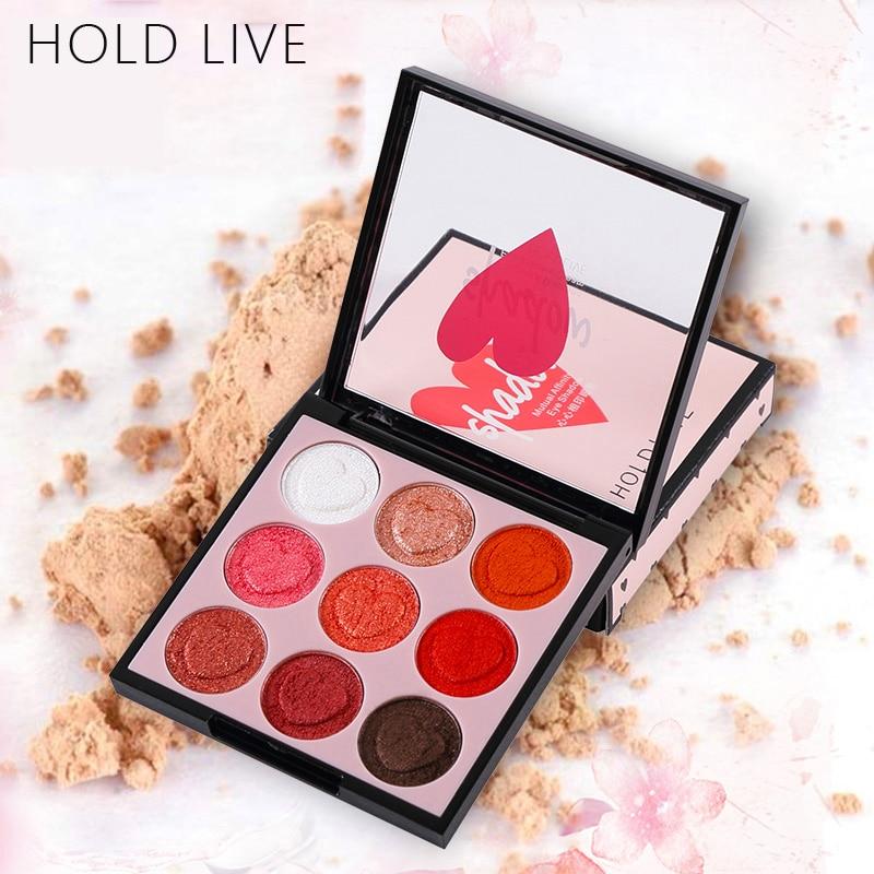 HOLD LIVE 9 Colors Professional Shimmer Matte Eye Shadow Pigment Eyeshadow Palette Glitter Eyes Makeup Shadows Make Up Kit Set