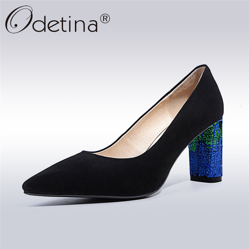 Odetina 2018 New Fashion Genuine Leather Pumps For Women Square High Heels Elegant Shoes Pointed Toe Slip On Pumps Big Size 43 lady glitter high fashion designer brand bow soft flock plus size 43 leisure pointed toe flats square heels single shoes slip on