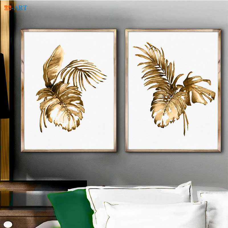 Hot Sale Framed Canvas Painting Monstera Palm Art Print Gold Palm ...