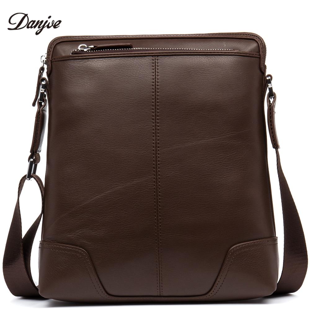 все цены на DANJUE Genuine Leather Crossbody Bag Male Brand Business Shoulder Bag Men High Quality Soft Leather Daily Bag Thin Men Bag
