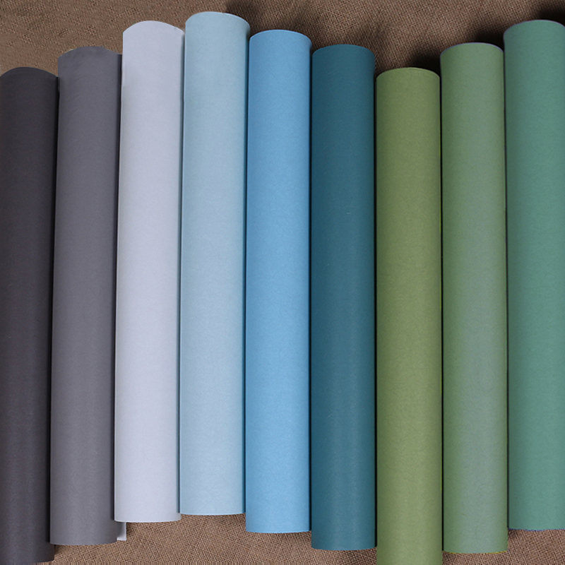 Modern Plain  Solid Color Thicken Silk Textured Wallpaper Roll Bookshelf Fabric Wall Paper for Hotel Bedroom Walls Green Blue