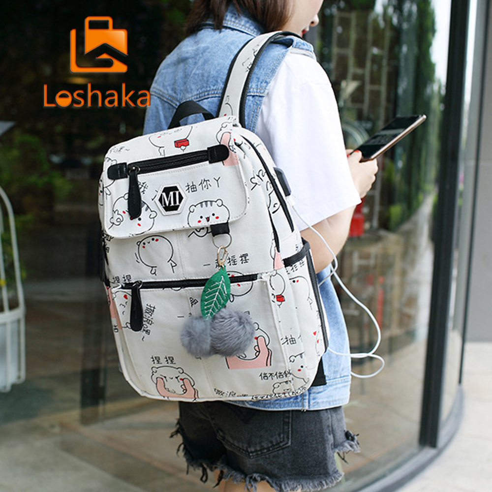 3 Pcs/Set USB Charging Canvas Women Backpack Printing School Backpacks Schoolbag For Teenagers Student Book Bag Girl Boy Satchel