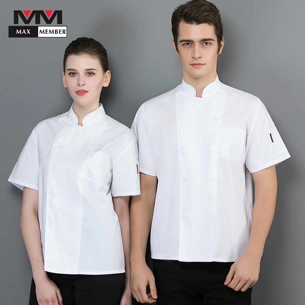 2019 Short Sleeve Chef Restaurant Hotel Kitchen Cook Suit Man Woman Restaurant Clothing Work Uniforms White Canteen Overalls