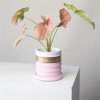 Imixlot Cement Flower Pot Round Bonsai Planter Nordic Minimalist Ceramic Flowerpot Garden Home Decoration