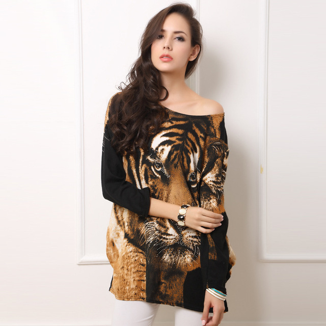 Cotton Women Tiger Long Sleeve T Shirts Long Sleeves Batwing Brand Loose Style Female T Shirt Batwing Sleeve Knitted Shirts