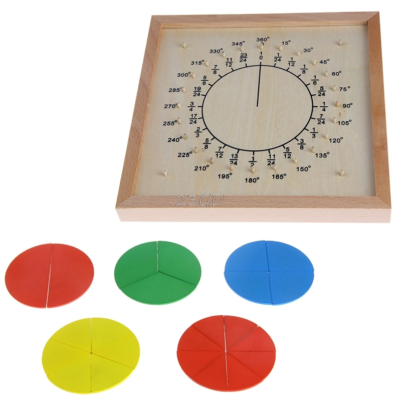2017 Montessori Material Wooden Circular Fractions Scoreboard Kid Educational Toy MAY2_35