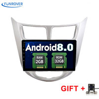 Funrover 2G+32G Android 8.0 2 DIN Car DVD GPS for Hyundai Solaris 2011 2012 2014 2015 2016 head unit radio video player wifi BT