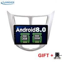 Funrover 2G + 32G Android 8.0 2 Din coche DVD GPS para Hyundai Solaris 2011 2012 2014 2015 2016 unidad principal radio reproductor de vídeo WiFi BT