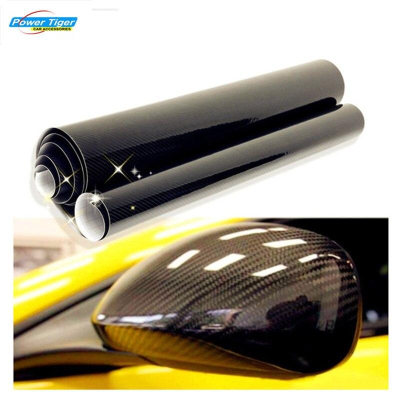 DIY 10x152cm Car Sticker 5D High Glossy Carbon Fiber Film Change Color Auto Exterior Interior Vinyl Wrap Decals Styling