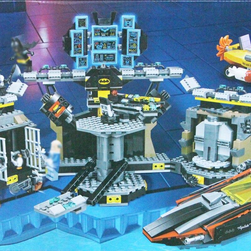 building bricks Batman 1047Pcs 07052 Genuine Batman Movie Batcave Break-in Building Blocks Bricks Education Kit Toys 70909
