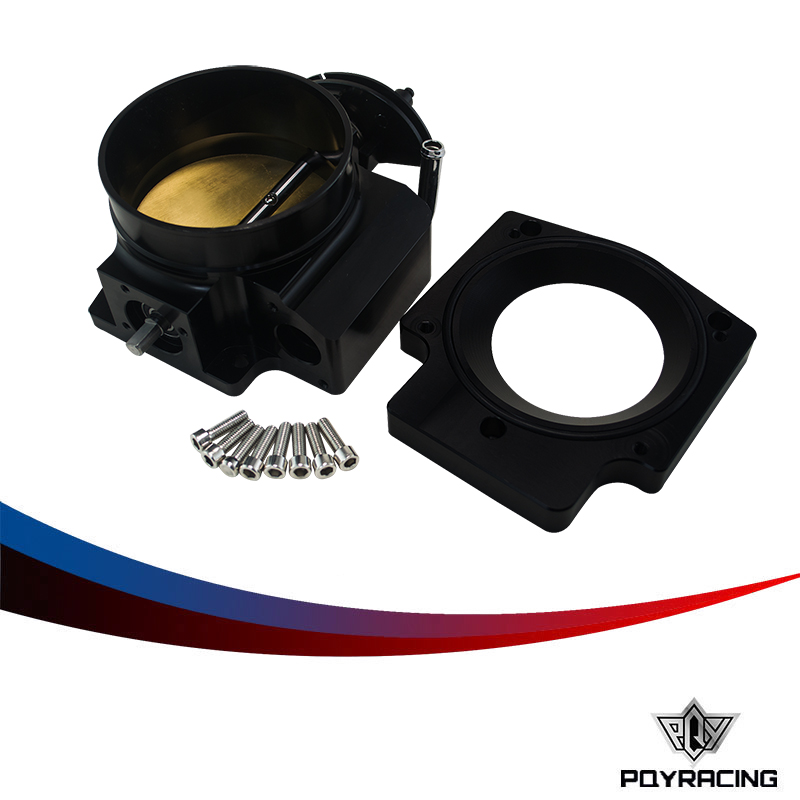 PQY RACING- 102mm Throttle Body +Manifold Adapter Plate for LS LS2 LS3 LS6 LS7 LSX BLACK PQY6938+TBS51 pqy racing free shipping new throttle