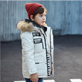 new 2016 winter girls down jacket children thicken coat kids mid-long down jackets boys white duck down genuine fur collar,6-13Y